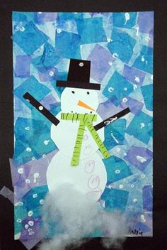 Snowman with tissue paper background