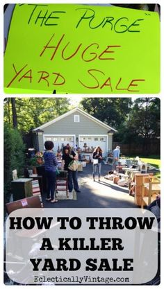 to Throw a Killer Yard Sale - The Purge Sale How to Throw a Killer Yard Sale - 16 Tips for Success! How to Throw a Killer Yard Sale - 16 Tips for Success! Garage Sale Tips, Garage Sale Pricing, Garage Sale Organization, Organization Ideas, Things To Know, Things To Sell, Rummage Sale, Tips & Tricks, Moving Tips