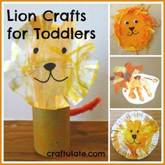 We made four different lion crafts for toddlers, using a variety of materials including craft foam, paper plates, tissue paper and cardboard tubes. Toddler Art, Toddler Learning, Toddler Crafts, Crafts For Kids, Toddler Teacher, Zoo Activities, Toddler Activities, Daycare Crafts, Preschool Crafts