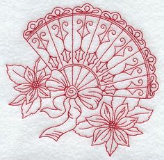 Machine Embroidery Designs at Embroidery Library! - Victorian Fan with Poinsettias (Redwork) Hand Embroidery Designs, Ribbon Embroidery, Embroidery Patterns, Local Embroidery, Blackwork Embroidery, Cross Stitch Embroidery, Blackwork Patterns, Christmas Embroidery, Embroidery Techniques