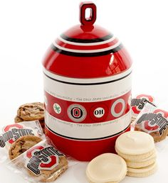 Ohio State University Cookie Jar With Cherly's Cookies. I have this cookie jar! Buckeyes Football, Ohio State Football, Ohio State University, Ohio State Buckeyes, Ohio State Decor, Ohio State Baby, Buckeye Cookies, Buckeye Nut, Cookie Jars