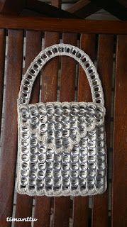 iltalaukku t�lkinvetimist� x2 Can Tab Crafts, Can Tabs, Chainmaille, Michael Kors, Crafty, Deco, Metal, Crochet, Pattern