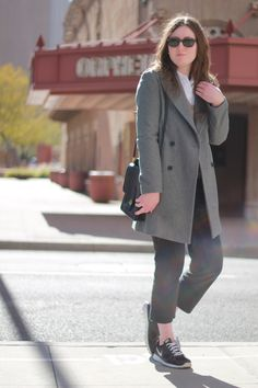 Gray Coat, black pants, nike sneakers