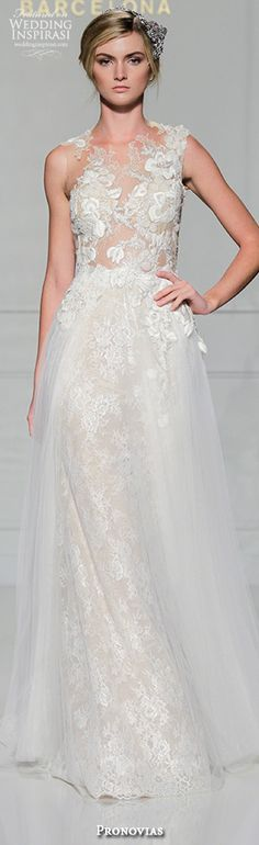 pronovias 2016 bridal gowns sexy lace mermaid wedding dress sleeveless crew neckline tulle flared skirt style vintage #weddingdress #weddingdresses