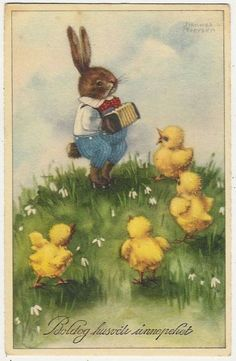 Easter postcard by Hannes Petersen .Bunny Playing Music on A Piano Accordion for Chicks Easter Art, Easter Crafts, Easter Bunny, Vintage Easter, Vintage Holiday, Vintage Cards, Vintage Postcards, Easter Illustration, Easter Pictures