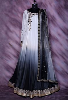 White And Black Designer Party Wear Dress Pretty Outfits, Pretty Dresses, Beautiful Outfits, Fantasy Gowns, Fantasy Outfits, Fantasy Clothes, Indian Gowns Dresses, Royal Dresses, Pakistani Dresses