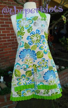 Hand Crafted  Burlap Green Flower and Lilly Pads Apron