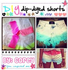 """DIY dip-dyed shorts!"" by totally-tipsy-girls ❤ liked on Polyvore"