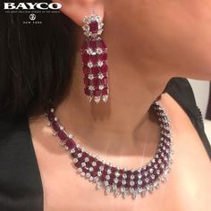 BAYCO JEWELS Ruby and diamond earrings and necklace