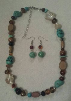 Wooden beads and turquoise necklace set