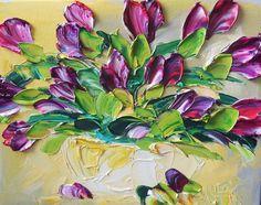 Oil Painting Purple Tulips Art Still life by IronsideImpastos, $70.00