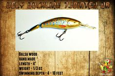 Ugly Duckling Jointed Crankbait Wood Musky Pike Walleye Bass Fishing Bait Lure #UglyDuckling
