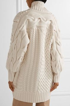 Burberry - Cable-knit Wool And Cashmere-blend Cardigan - Ivory