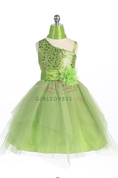 Lime Sparkly Sequined Asymmetrical and Tulle Overlaid Flower Girl Dress G3444-LM G3444-LM $48.95 on www.GirlsDressLine.Com