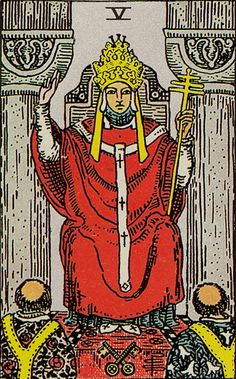 The Hierophant Major Arcana Tarot card. The Tarot Hierophant card meaning in a nutshell: The dependency on approval from an elevated dignity. (Such as the pope) Major Arcana Cards, Tarot Major Arcana, Tarot Astrologico, Tarot Rider Waite, Tarot Waite, Rose Croix, The Hierophant, Tarot Decks, Marseille