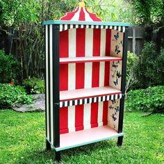 Alice In Wonderland Bookcase. Makeover an old bookcase with an Alice In Wonderland feel!