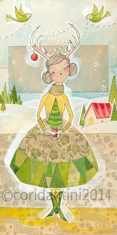 Cori Dantini Holiday Artwork, decor  folk painting or a girl by cori cantini  girl with antlers