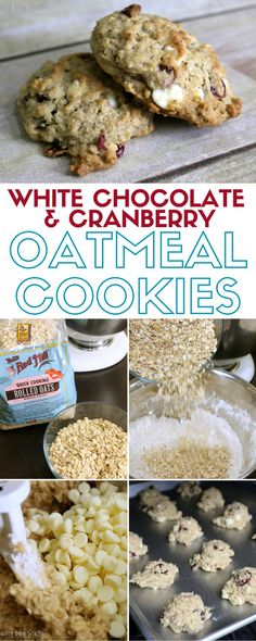 Delicious oatmeal cookie recipe made with white chocolate chips and dried cranberries. Perfect after school snack or dessert. A simple DIY recipe tutorial! Dessert and Snack recipes Oatmeal Cookie Recipes, Easy Cookie Recipes, Oatmeal Cookies, Cookie Desserts, Cupcake Cookies, Great Recipes, Dessert Recipes, Favorite Recipes, Top Recipes