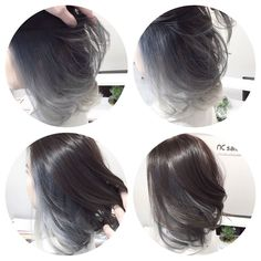 Cool silver grey tone for asian hair.