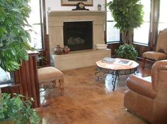 Fireplace, Surround Brown Floors Solid Solutions Studios Fresno, CA Stained Concrete, Concrete Floors, Concrete Finishes, Concrete Overlay, Concrete Projects, Diy Projects, Basement Remodeling, Remodeling Ideas, Basement Ideas