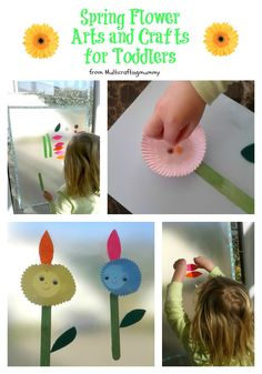 Spring flower arts and crafts ideal for toddlers. Including a contact paper activity using felt leaves and lolly sticks and a bun case collage. Ideal for Mothers Day.