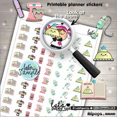 Baking Stickers, Printable Planner Stickers, Bake Stickers, Planner Stickers, Cook Stickers, Kawaii Stickers, Planner Accessories, Stamps