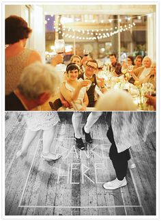 Very cute dance floor tape sign. I would do this in the center and outline the edge of the floor with another line