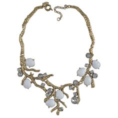 Fashion White Resin Necklace Tree Jewelry Exaggerated Alloy Necklaces Chunky Metal Jewellery