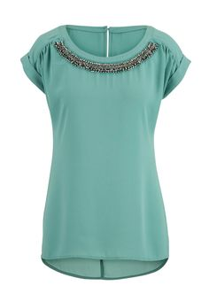 short sleeve chiffon blouse with bead embellishments in the sparrow color… Look Fashion, Womens Fashion, Fashion Trends, Casual Outfits, Cute Outfits, Blouse And Skirt, Dress Codes, Chiffon Tops, What To Wear