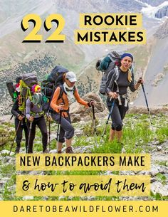22 mistakes new backpackers make all the time and how to avoid them! Read 10 embarrassing gear mistakes I made on my first backpacking trip 12 more common newbie backpacking mistakes to avoid. backpacking tips Thru Hiking, Hiking Tips, Camping And Hiking, Camping Life, Camping Hacks, Camping Gear, Backpack Camping, Camping Gadgets, Winter Hiking