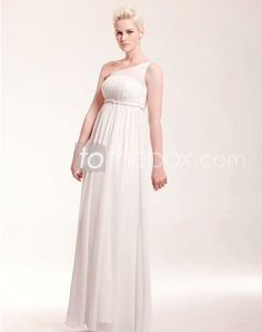 One Shoulder Floor-length Sheath/Column Prom Dresses With Side Draping www.lighttothebox...