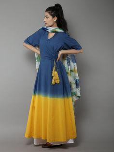 Blue Yellow Angarakha Tassel Cotton Kurti With Multi Color Dupatta - Set of 2