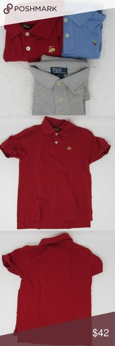 Bundle Ralph Lauren & Brooks Brothers shirts kid 6 All cotton bundle of knit polo shirts. The red one is Brooks Brothers, short sleeve, with a yellow sheep logo; the blue is short sleeve and has a brown & yellow multi-colored logo; the heather gray is long sleeve with a black logo. The Ralph Lauren shirts are size 6 and the BB is size XS but has fit my little one like a 6. They're all in lightly worn condition with no rips or stains that I can spot but please use the pictures to give them a…