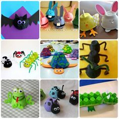 More than 20 crafts with egg cartons: Animals – Manualidades – Recycling Craft Activities For Kids, Preschool Crafts, Handycraft Ideas, Egg Cartoon Crafts, Egg Box Craft, Diy For Kids, Crafts For Kids, Diy And Crafts, Arts And Crafts