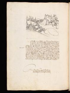 """Aarau, Aargauer Kantonsbibliothek, ZF 18, f. 63v – Werner Schodoler, Eidgenössische Chronik, Vol. 3 The Eidgenössischen Chronik/Luzerner Chronik. A manuscript by Wernher Schodoler. Made in 1513. About the Swiss wars with """"Habsburg, die Burgunderkriege, dem Schwabenkrieg und zuletzt den italienischen Feldzügen"""" http://de.wikipedia.org/wiki/Eidgen%C3%B6ssische_Chronik_%28Schodoler%29"""
