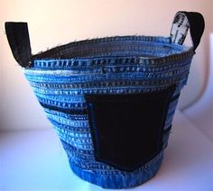 denim basket with handles from recycled blue jeans