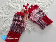 This pair of Winters Cerise Fingerless Gloves is great accessory to crochet for Fall and Winter days. It is quick and easy to crochet.