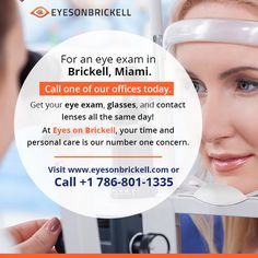 Call us now for Comprehensive Visit Eyes On Brickell Optical store, find an and keep your eyes healthy. Same Day Glasses, Eye Care Center, Brickell Miami, United Healthcare, Eye Exam, Eye Doctor, Red Eyes, Number One, Personal Care