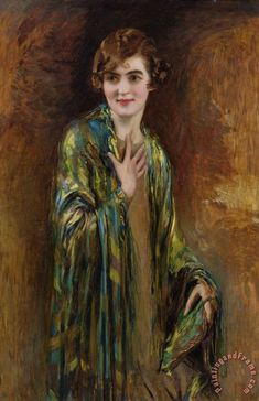Isaac Cohen Portrait of a girl with a green shawl painting - Portrait…