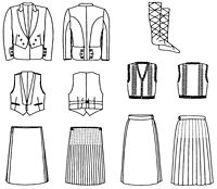 Folkwear Pattern #152 : Finally found a basic, normal kilt pattern! Comes with jacket, vest, mens' options, knit socks and jumper instructions too.