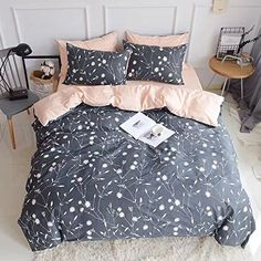 Queen Duvet Cover Cotton Bedding Set Gray Flowers Branches Printing,Reversible Peach and Gray Duvet Cover Set-Ultra Comfy,Breathable,Zipper Closure-Branches,Full/Queen - Home Design Ideas Kids Bedding Sets, Cotton Bedding Sets, Queen Bedding Sets, Luxury Bedding Sets, Queen Duvet, King Duvet, College Bedding Sets, Best Duvet Covers, Comforter Cover