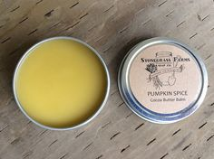 Pumpkin Spice Cocoa Butter Balm - Contains organic, fair-trade cocoa butter, organic oils and fresh-grated local Oregon beeswax. It's a skin-soothing treat! Use as a body balm, hand balm or foot balm.