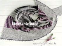 """Strickanleitung """"Graues Dreieckstuch mit Streifen"""""""
