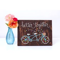 Bicycle wood sign, bike art on wood, reclaimed wood art, tandem bike art, better together, quote on wood, rustic wood sign