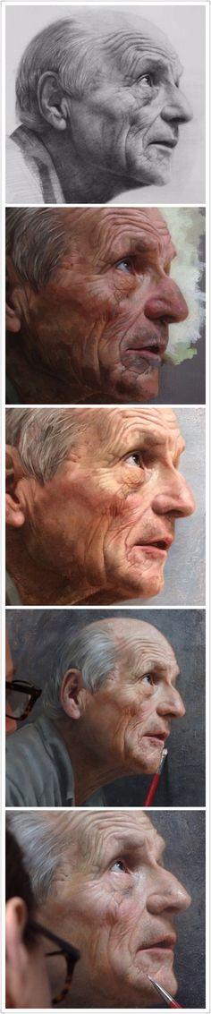 By David Kassan {contemporary figurative art male head profile grunge elderly man face portrait progressive oil painting} davidkassan.com