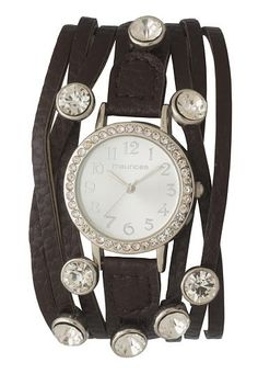 brown faux leather band watch with rhinestone studs (original price, $24) available at #Maurices