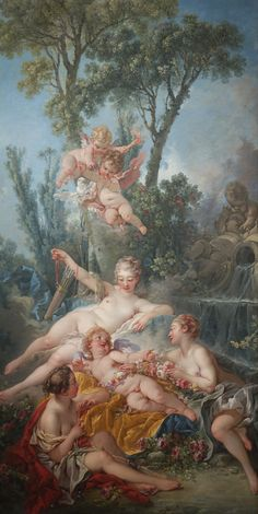 Cupid a Captive by Boucher (Rococo). Boucher created a pyramidal composition of the softly modeled flesh of the figures (in rosy, pink hues). Renaissance Kunst, Renaissance Paintings, Rococo Painting, Artist Birthday, Baroque Art, Classic Paintings, Painting Wallpaper, Classical Art, Old Art