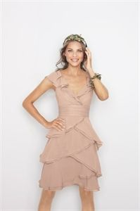Short Ruffle Chiffon Dress, Chiffon Knee Length Dresses, Cocktail Gown $112.00