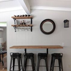 Wall hanging dining table, buffet, breakfast nook with industrial metal turnbuckle brackets Wall Mounted Bar, Wall Mounted Dining Table, Bar On Wall, Wall Tables, Breakfast Bar Kitchen, Breakfast Nooks, Breakfast Buffet, Table Bar, Nook Table