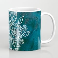 Blue flowers Coffee Mug by seelas Wraparound, Blue Flowers, Handicraft, Microwave, Dishwasher, Coffee Mugs, Cups, Construction, Ceramics